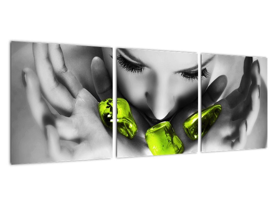 Moderný obraz - zelené kamene v dlani
