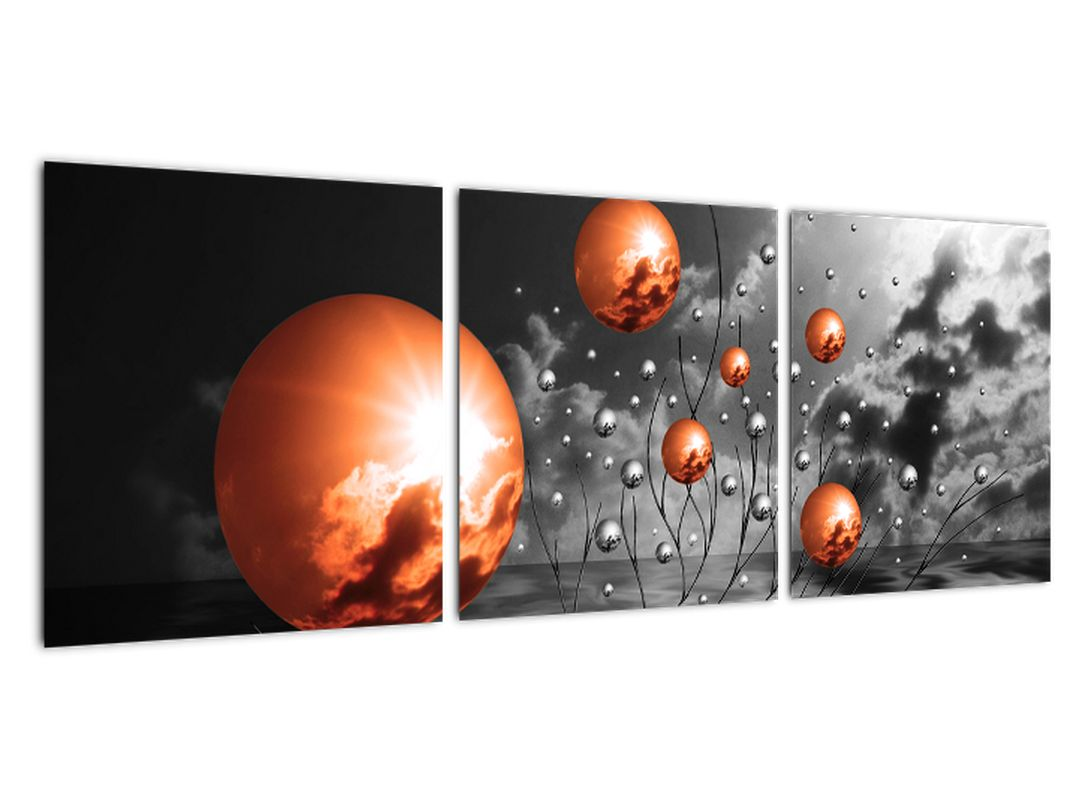 Abstraktné obrazy - oranžové gule