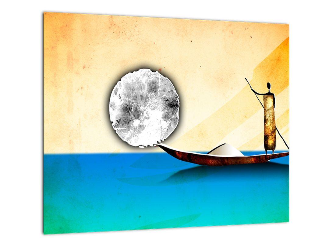Prievozník na lodi - obraz