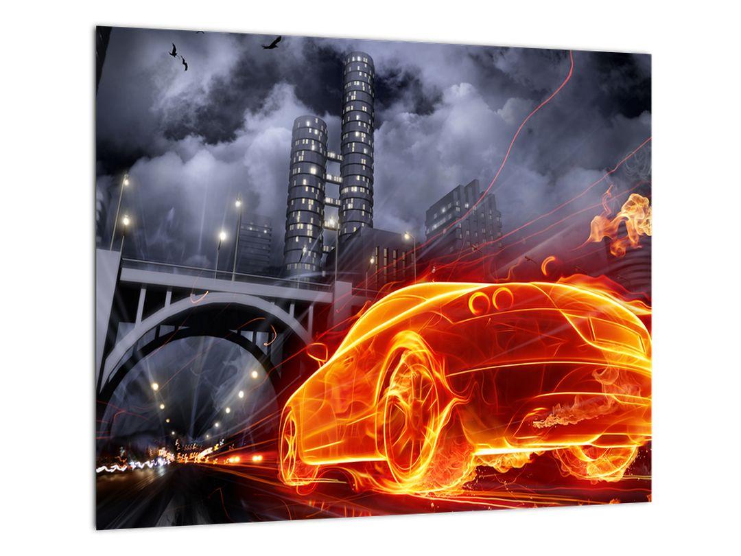 Moderný obraz - ohnivé auto
