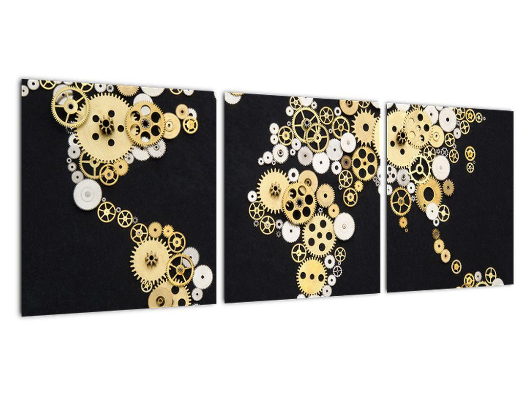 Mapa sveta z ozubených kolies - obraz na stenu