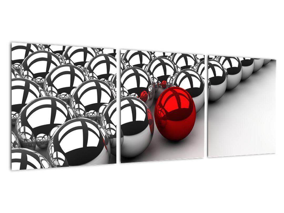 Obraz červené gule medzi striebornými