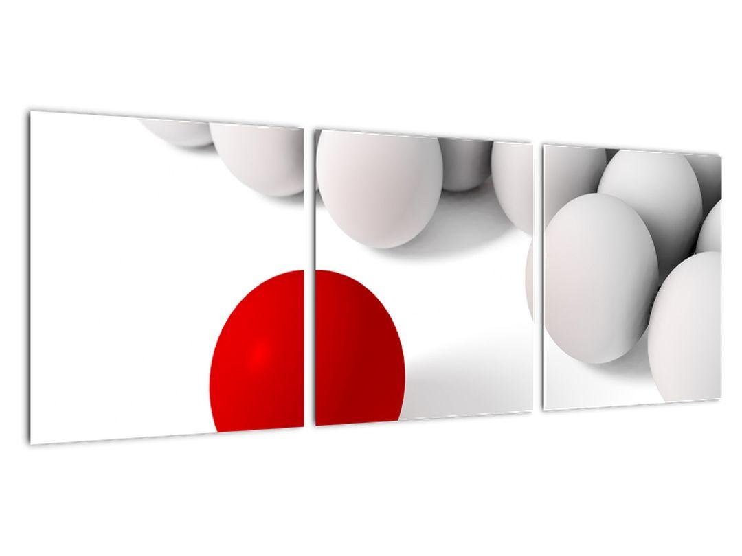 Červená guľa medzi bielymi - abstraktný obraz