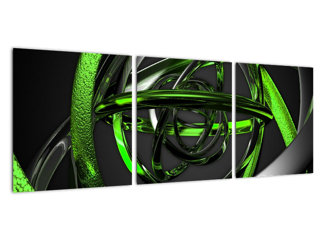 Zelená a sivá - moderný obraz do bytu