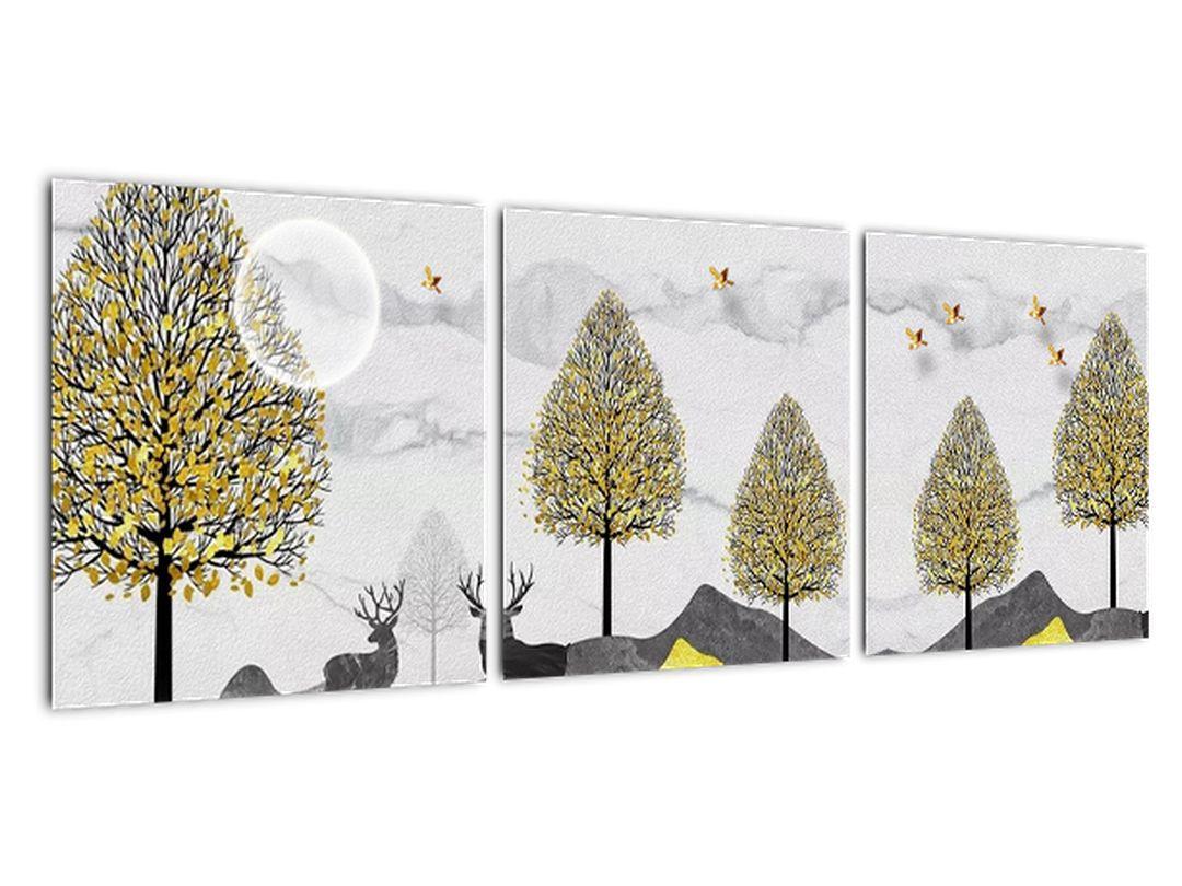 Moderný obraz - zver pod stromami