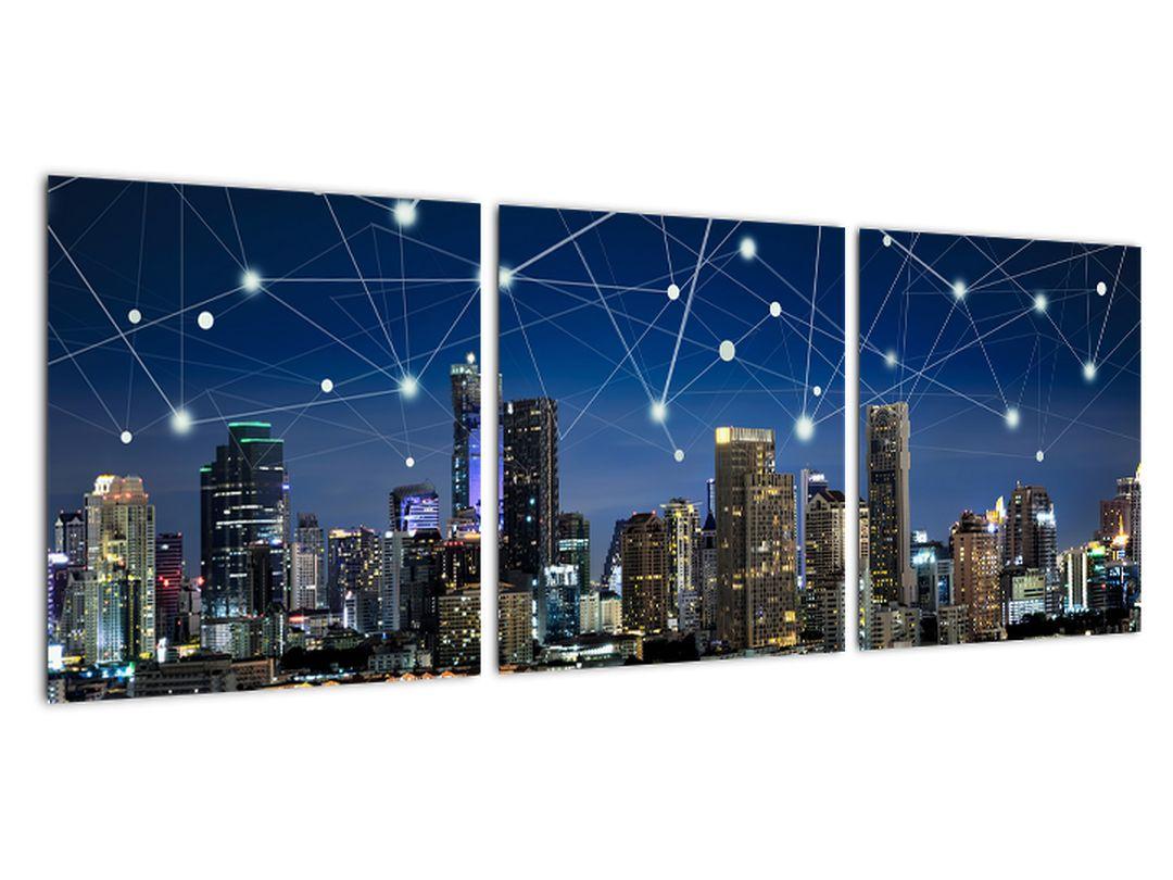 Moderný obraz: večerné mesto budúcnosti