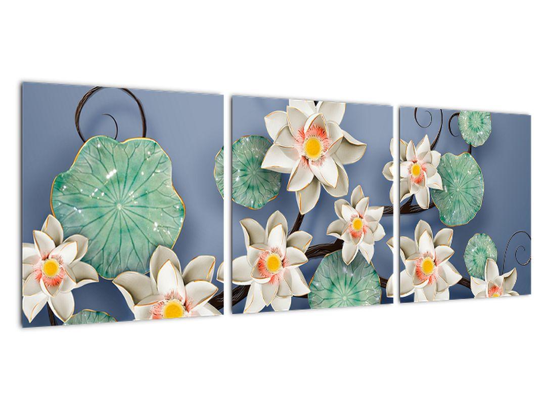 Kvety na modrom pozadí - obraz