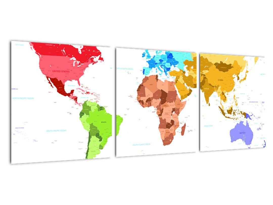 Obraz - farebná mapa sveta