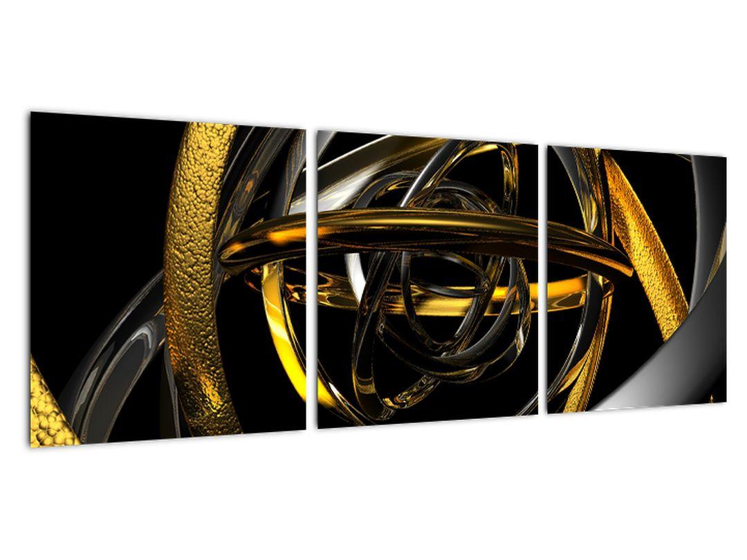 Moderný obraz - zlaté a strieborné obruče