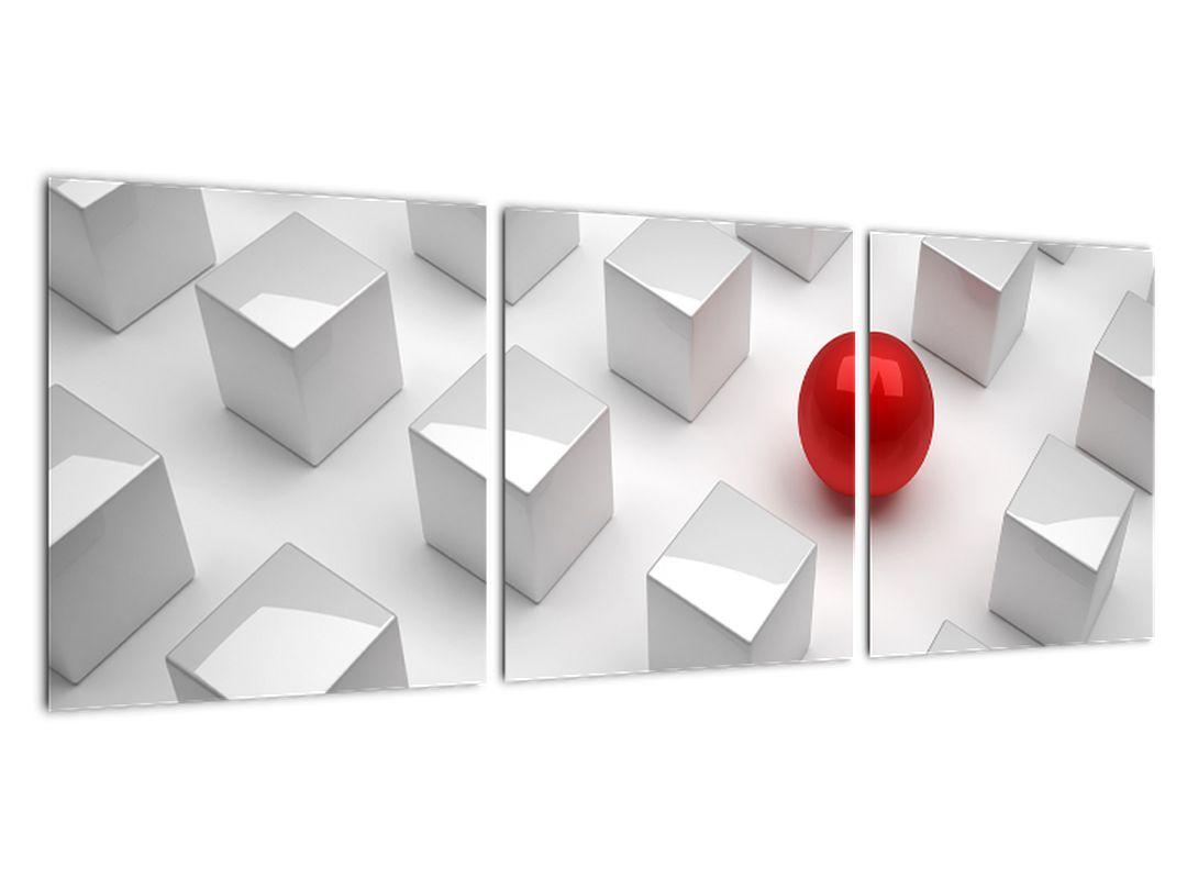Obraz červené gule medzi kockami