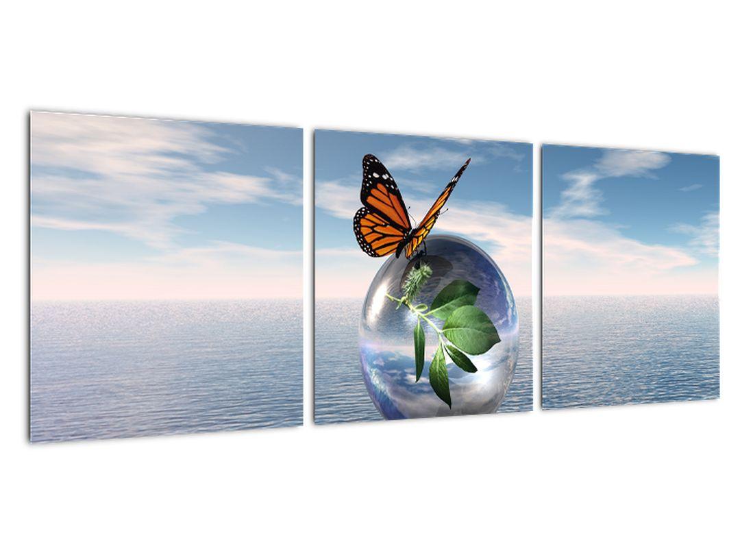 Abstraktný obraz - motýľ na guľu