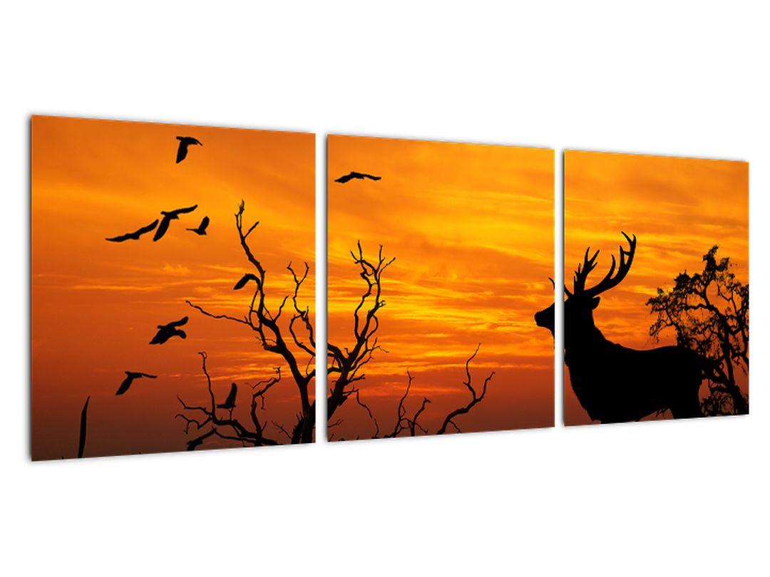 Obraz - jeleň na jesenné lúke