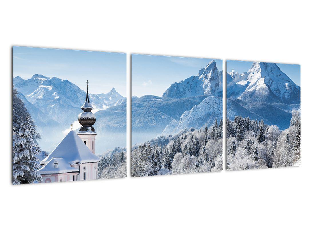 Kostol v horách - obraz zimnej krajiny
