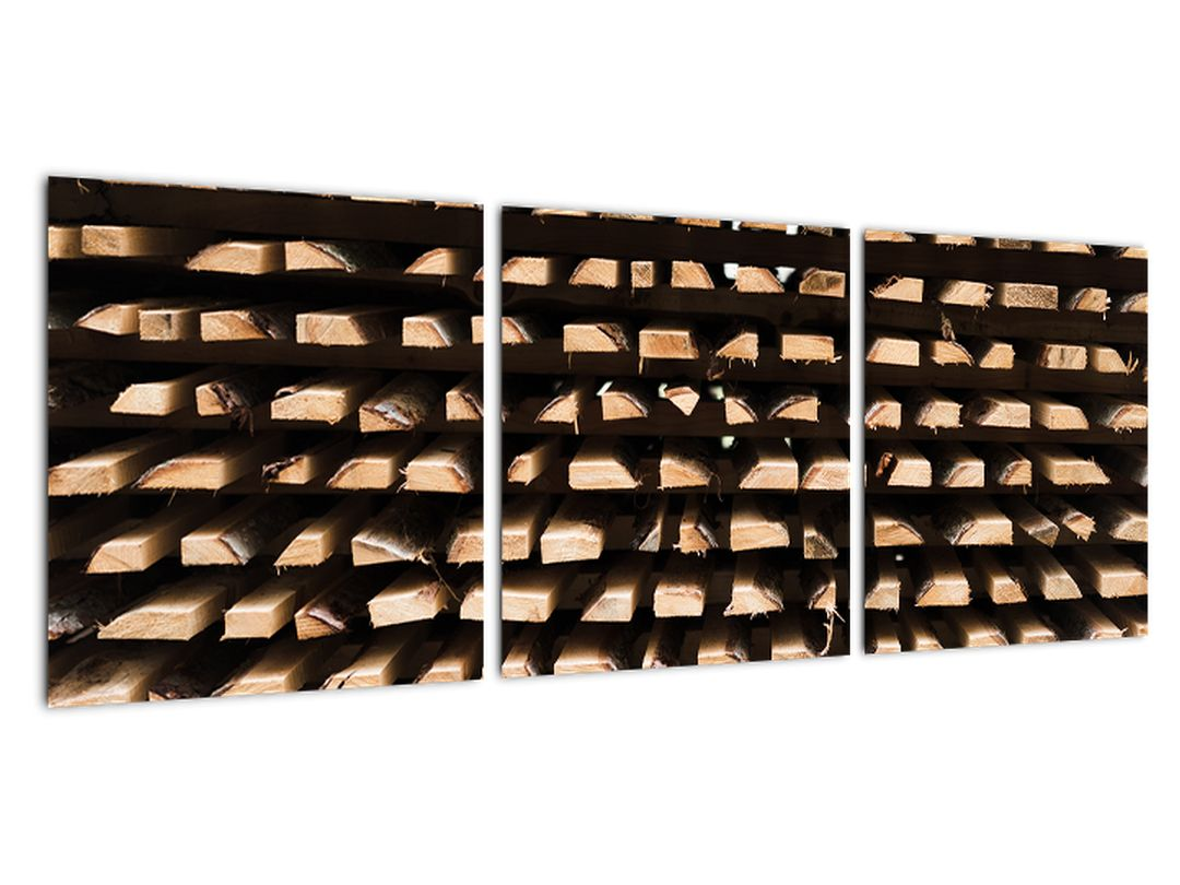 Obraz naskladaného drevo