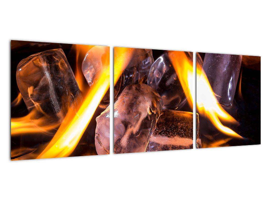 Obraz ľadových kociek v ohni