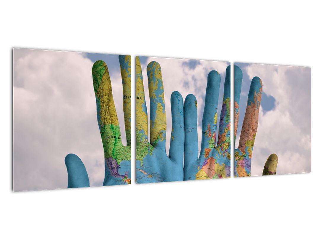 Obraz - mapa sveta na dlani