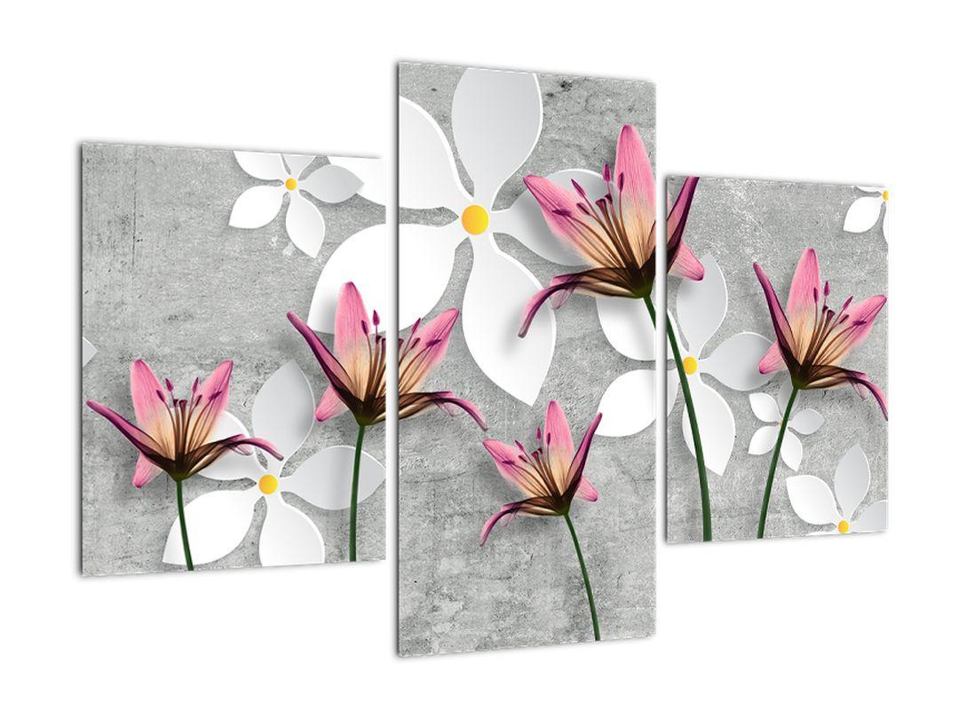 Abstraktný obraz kvetov na sivom pozadí